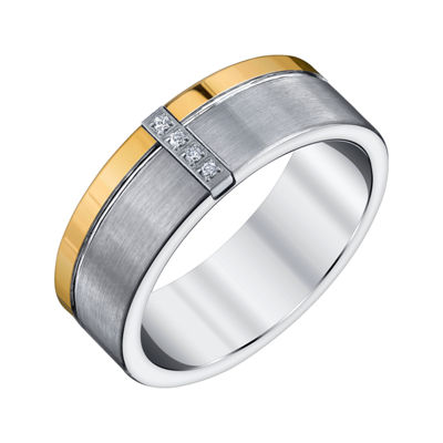 Mens 8mm Diamond Accent Genuine White Diamond Tungsten Band