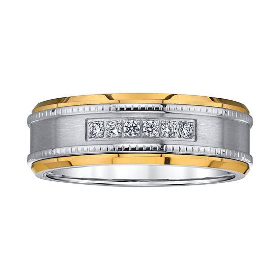 Mens 8MM 1/8 CT. T.W. Genuine White Diamond Tungsten Wedding Band