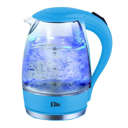 Elite Platinum EKT-300BL 1.7 Liter Glass Cordless Electric Kettle