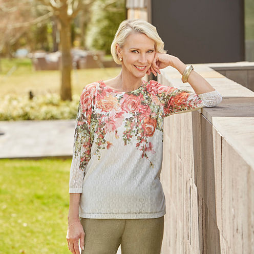 Alfred Dunner Freeform 3/4 Sleeve Crew Neck Floral T-Shirt-Womens Petites