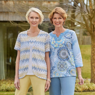 Alfred Dunner Blue Lagoon 3/4 Sleeve V Neck T-Shirt-Womens