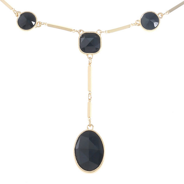Monet Jewelry Womens Black Y Necklace