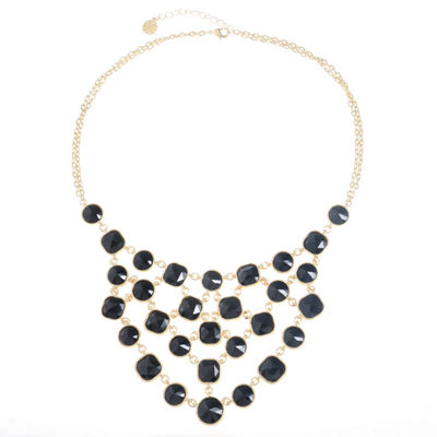 Monet Jewelry Womens Black Statement Necklace