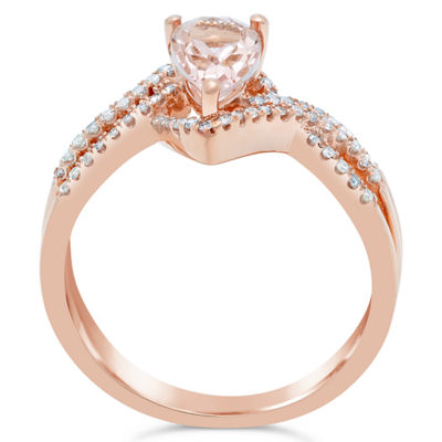Womens 1/4 CT. T.W. Genuine Pink Morganite 10K Gold Pear Bypass Ring