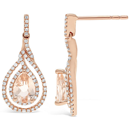 3/8 CT. T.W. Genuine Pink Morganite 10K Gold Drop Earrings