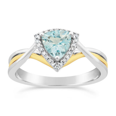 Womens 1/10 CT. T.W. Genuine Blue Aquamarine 10K Gold Crossover Ring