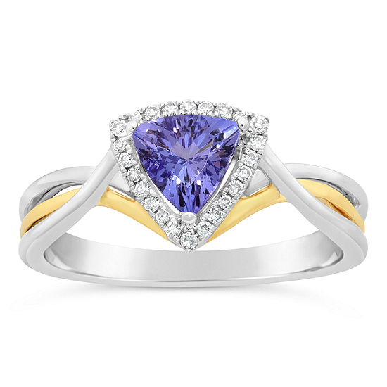 Womens 1/10 CT. T.W. Genuine Blue Tanzanite 10K Gold Crossover Cocktail Ring