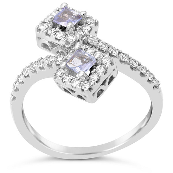 Womens 1/2 CT. T.W. Blue Tanzanite 10K Gold Bypass Ring