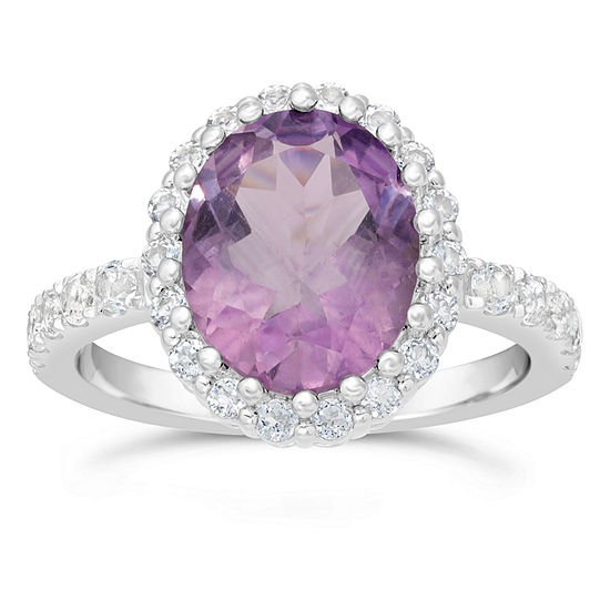 Womens Genuine Purple Amethyst 10K Gold Oval Bypass  Cocktail Ring