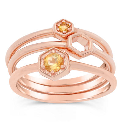 Womens Genuine Yellow Citrine 18K Rose Gold Over Silver Round Stackable Ring