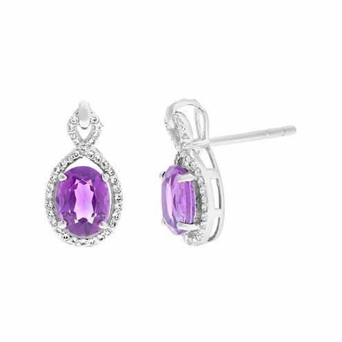 Purple Amethyst Sterling Silver Drop Earrings