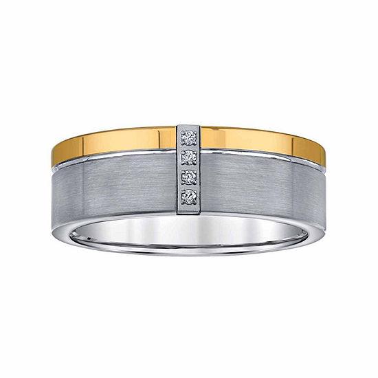 8MM Diamond Accent Genuine White Diamond Tungsten Wedding Band