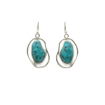 Silver Elements By Barse Blue Turquoise Sterling Silver Drop Earrings
