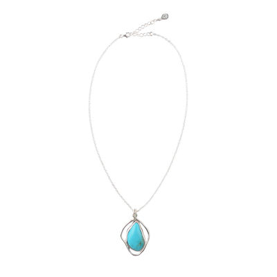 Silver Elements By Barse Womens Blue Turquoise Sterling Silver Pendant Necklace