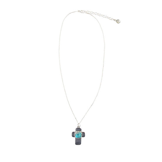 Silver Elements by Barse Womens Genuine Blue Turquoise Sterling Silver Cross Pendant Necklace