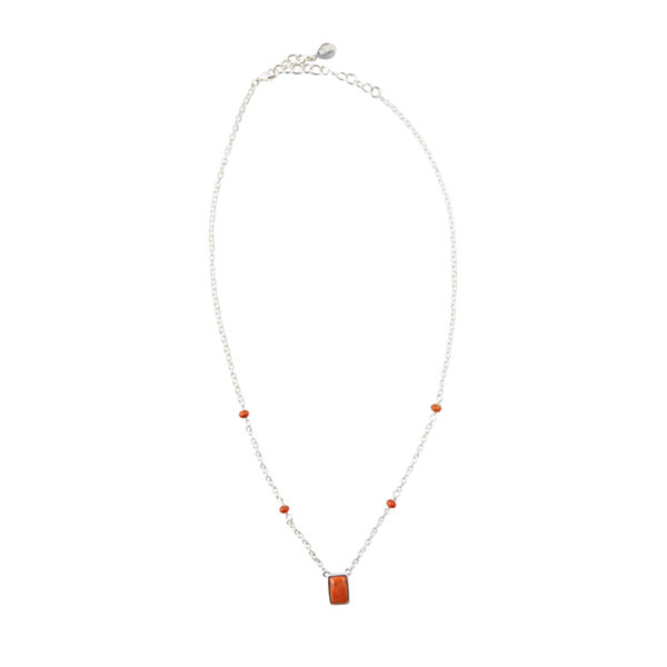 Silver Elements By Barse Womens Orange Sponge Coral Sterling Silver Illusion Necklace