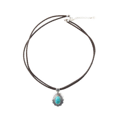 Silver Elements by Barse Womens Genuine Blue Turquoise Pendant Necklace