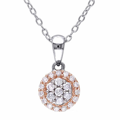 Womens 1/4 CT. T.W. White Diamond Sterling Silver Pendant Necklace
