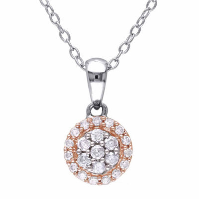 Womens 1/4 CT. T.W. Genuine White Diamond Sterling Silver Round Pendant Necklace