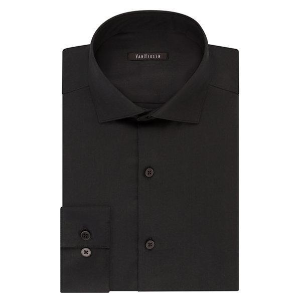 Black shirt dress white collar