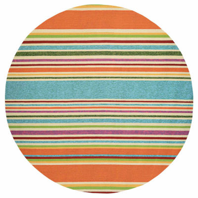 Couristan Covington Sherbert Stripe Hooked Round Rugs