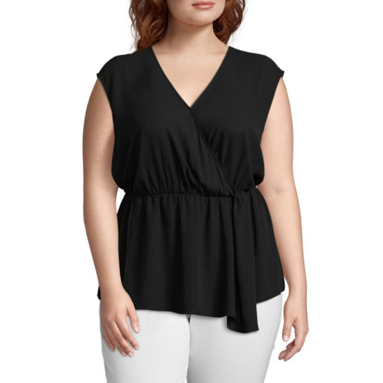Worthington Sleeveless Faux Wrap Georgette Blouse -Plus