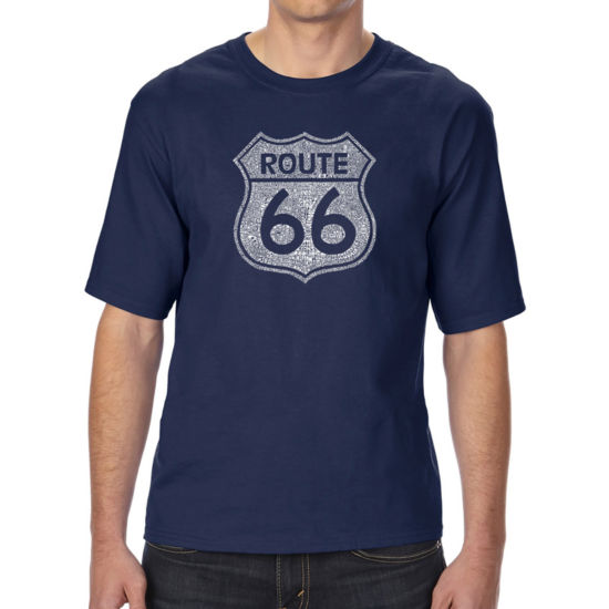 Los Angeles Pop Art Men's Tall and Long Word Art T-shirt - CITIES ALONG THE LEGENDARY ROUTE 66