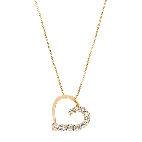 Sparkle Allure Clear Lab Created Cubic Zirconia 14K Gold Over Brass Heart Pendant Necklace