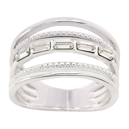 Sparkle Allure Crystal Pure Silver Over Brass Band Ring Made With Swarovski Elements