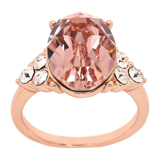 Sparkle Allure Crystal 18K Rose Gold Over Brass Oval Cocktail Ring Made With Swarovski Elements