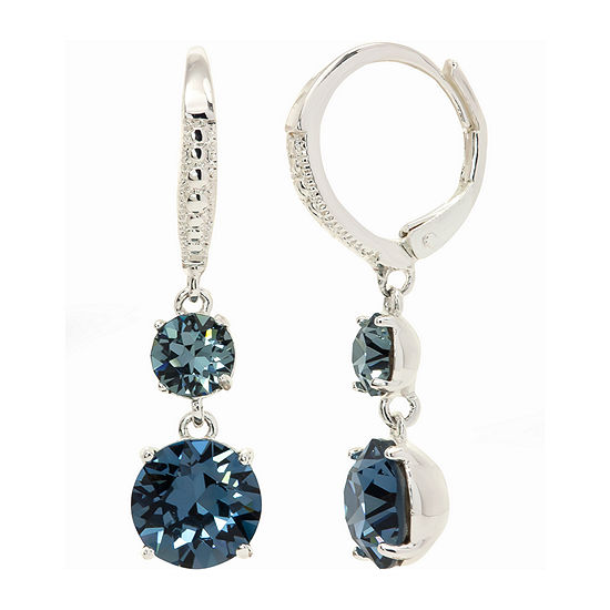 Sparkle Allure Crystal Pure Silver Over Brass Round Double Drop Hoop Earrings Made With Swarovski Elements