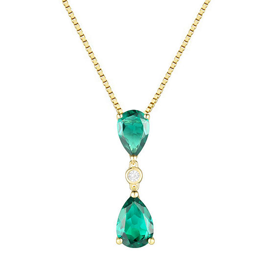 Womens Lab Created Green Emerald 14K Gold Over Silver Pear Pendant Necklace