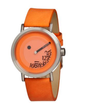 Simplify Unisex The 500 Fallen-Number Orange Leather-Band Watch Sim0505