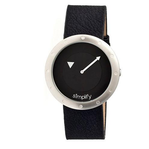 Simplify Unisex The 2200 Black Dial Black Leather-Band Watch SIM2202