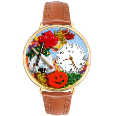 Whimsical Watches Personalized Autumn Leaves Womens Gold-Tone Bezel Tan Leather Strap Watch