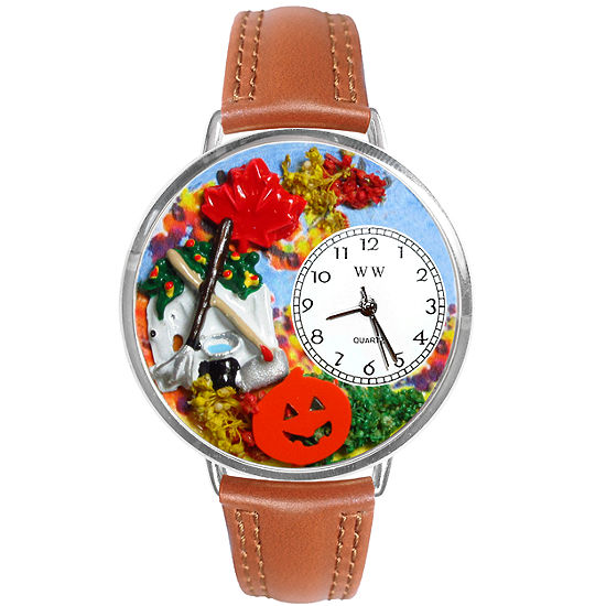 Whimsical Watches Personalized Autumn Leaves Womens Silver Tone Bezel Tan Leather Strap Watch