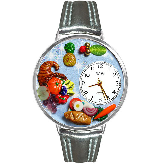 Whimsical Watches Personalized Holiday Feast Womens Silver-Tone Bezel Tan Leather Strap Watch