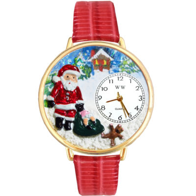 Whimsical Watches Personalized Christmas Santa Claus Womens Gold-Tone Bezel Red Leather Strap Watch