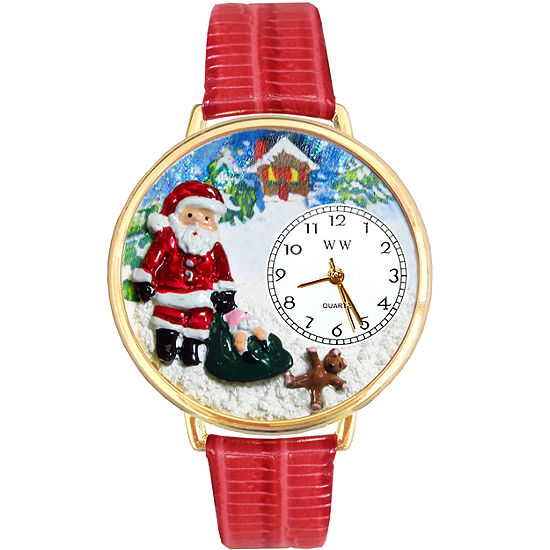 Whimsical Watches Personalized Christmas Santa Claus Womens Gold Tone Bezel Red Leather Strap Watch
