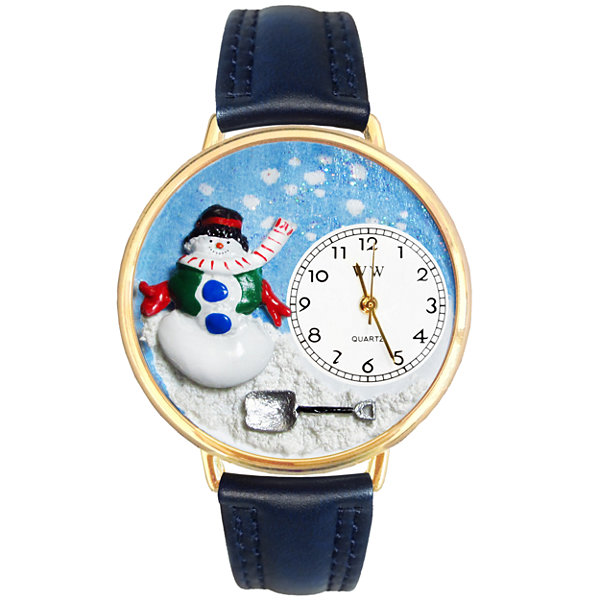 Whimsical Watches Personalized Holiday Snowman Womens Gold-Tone Bezel Blue Leather Strap Watch