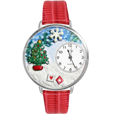 Whimsical Watches Personalized Christmas Tree Womens Silver-Tone Bezel Red Leather Strap Watch