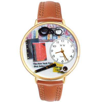 Whimsical Watches Personalized Book Lover Womens Gold-Tone Bezel Tan Leather Strap Watch