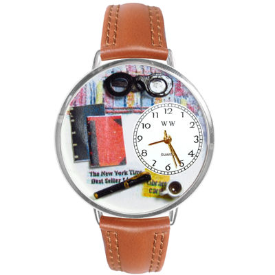 Whimsical Watches Personalized Book Lover Womens Silver-Tone Bezel Tan Leather Strap Watch