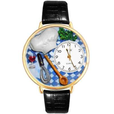 Whimsical Watches Personalized Chef Womens Gold-Tone Bezel Black Leather Strap Watch
