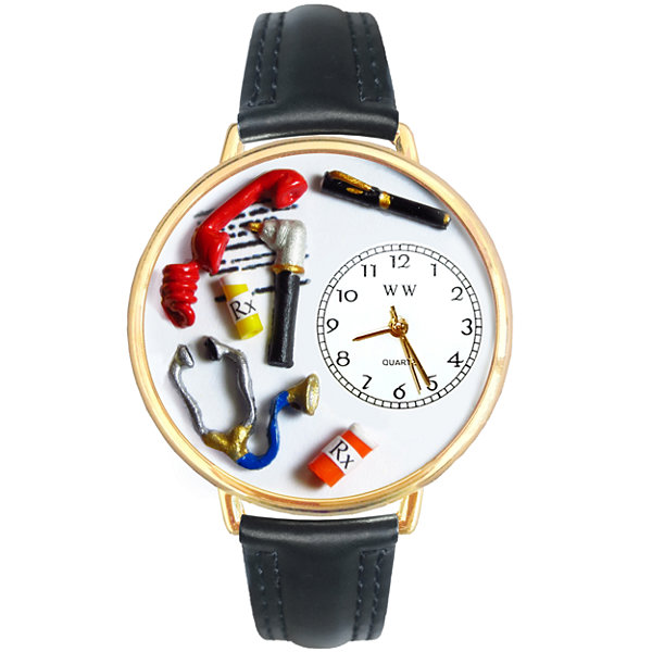Whimsical Watches Personalized Doctor Womens Gold-Tone Bezel Black Leather Strap Watch