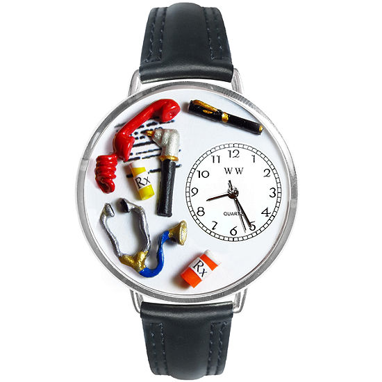 Whimsical Watches Personalized Doctor Womens Silver-Tone Bezel Black Leather Strap Watch