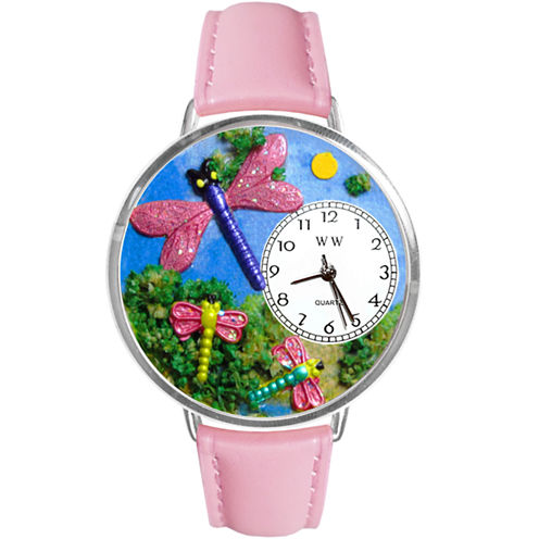 Whimsical Watches Personalized Dragonfly Womens Silver-Tone Bezel Pink Leather Strap Watch