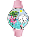 Whimsical Watches Personalized Flamingo Womens Silver-Tone Bezel Pink Leather Strap Watch