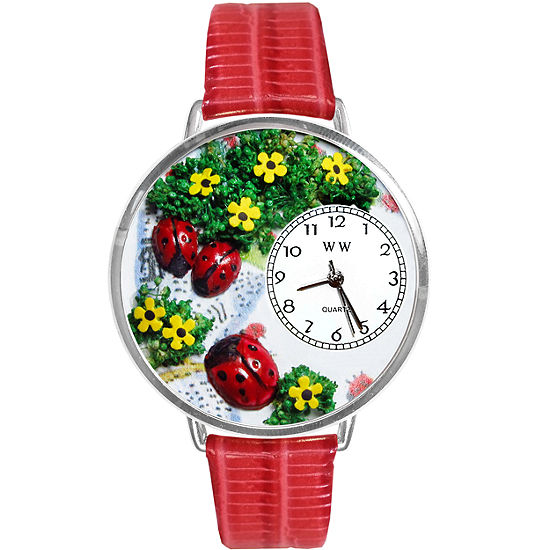 Whimsical Watches Personalized Ladybug Womens Silver-Tone Bezel Red Leather Strap Watch