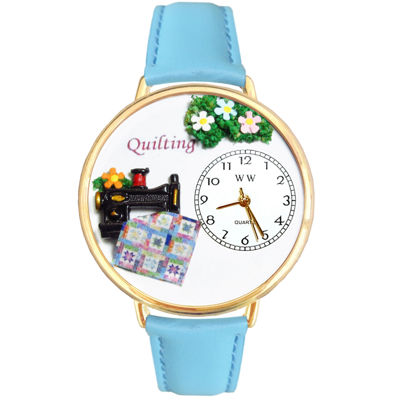 Whimsical Watches Personalized Quilt Womens Gold-Tone Bezel Light Blue Leather Strap Watch